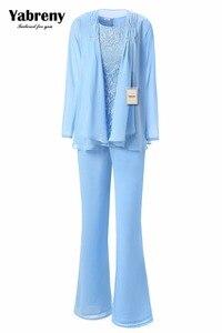 Image 2 - Yabreny エレガントな母花嫁のパンツスーツのラベンダーシフォン衣装特別な日のため MT001704 2