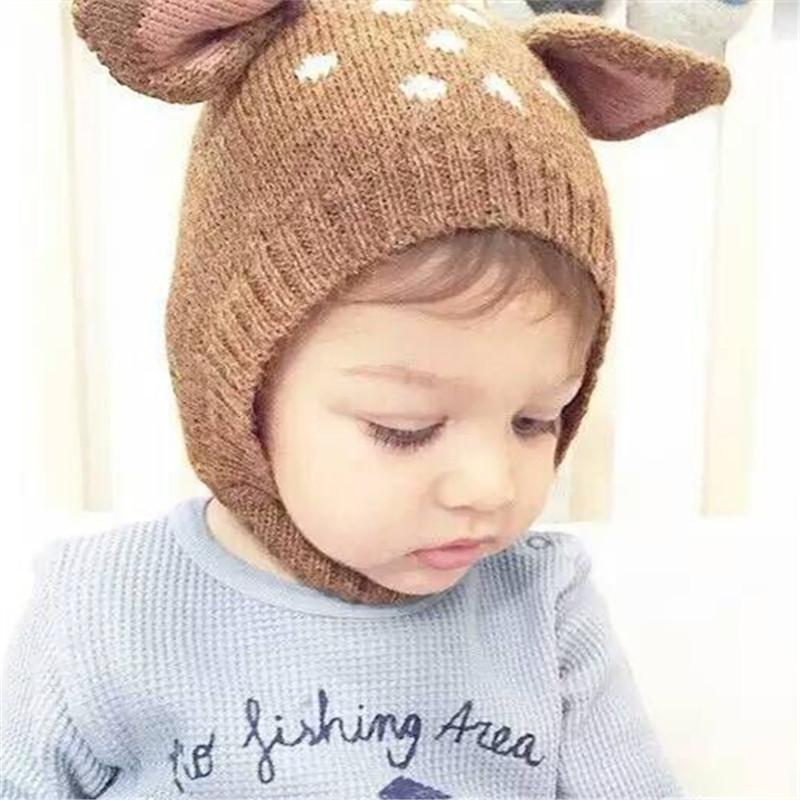 ef3f8ab9139 Hot Cute Knitting Wool Christmas Deer Ear Beanie Hat Baby Boy Girl ...