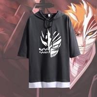 2019 Fashion T shirt Anime BLEACH Kurosaki ichigo Cosplay Short Sleeve Hoodie Unisex Casual Hooded Shirt Summer Patchwork Tops