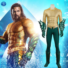 MANLUYUNXIAO Justice League Arthur Curry Aquaman Cosplay Costumes Halloween  for Men Jumpsuit Costume