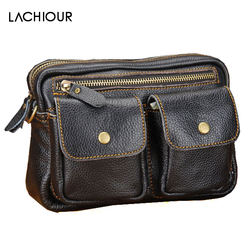 Lachiour Genuine Leather Waist Packs Pack Belt Bag Phone Pouch Bags Small  Travel Messenger Bag Fashion Handbag