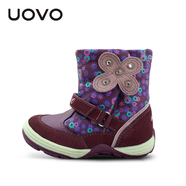 UOVO floral autumn winter little girl's boots waterproof kids boot butterfly children shoes brand girls shoes