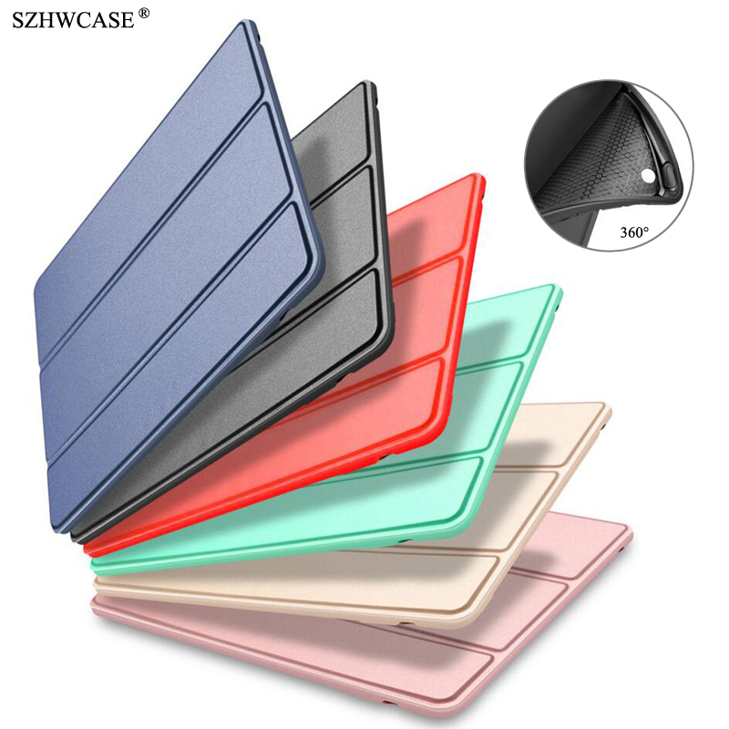 купить For iPad Air 2 Silicone Case A1566 A1567 Cover For iPad Air 2 Original Smart Wake Sleep PU Leather Fundas For iPad Air 2 Coque недорого