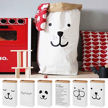 aboutbaby Cute Cartoon Kraft Paper Storage linen Bag Kids Toys Clothing Organizer Basket for Children Room Nursery Home Decor