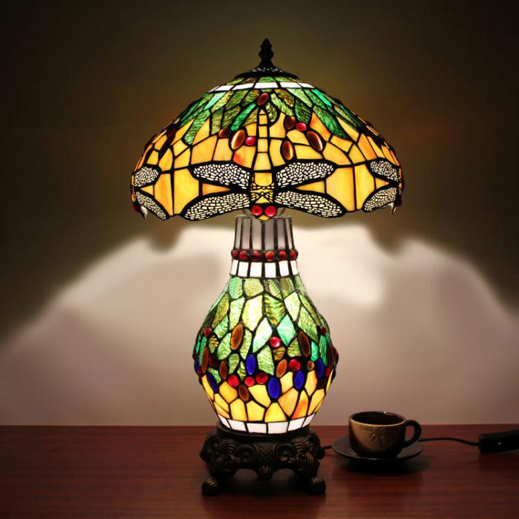 12 Inch Tiffany Stained Glass Dragonfly Table Lamp Vintage European Luxury  Living Room Cafe Bar Desk