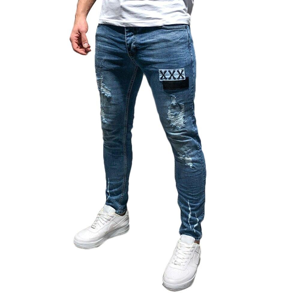 Casual Cotton Ankle-Length Men's Jeans Regular Mid Waist Pants Slim Men Pencil Pants Cotton Fit Size Masculina Male Trousers D40