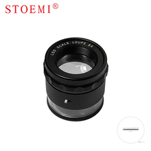 STOEMI 10X Portable Metal 8 LED Illuminated Focus Adjustable Cylindrical Loupe with Measure Scale Magnifier 6804-07