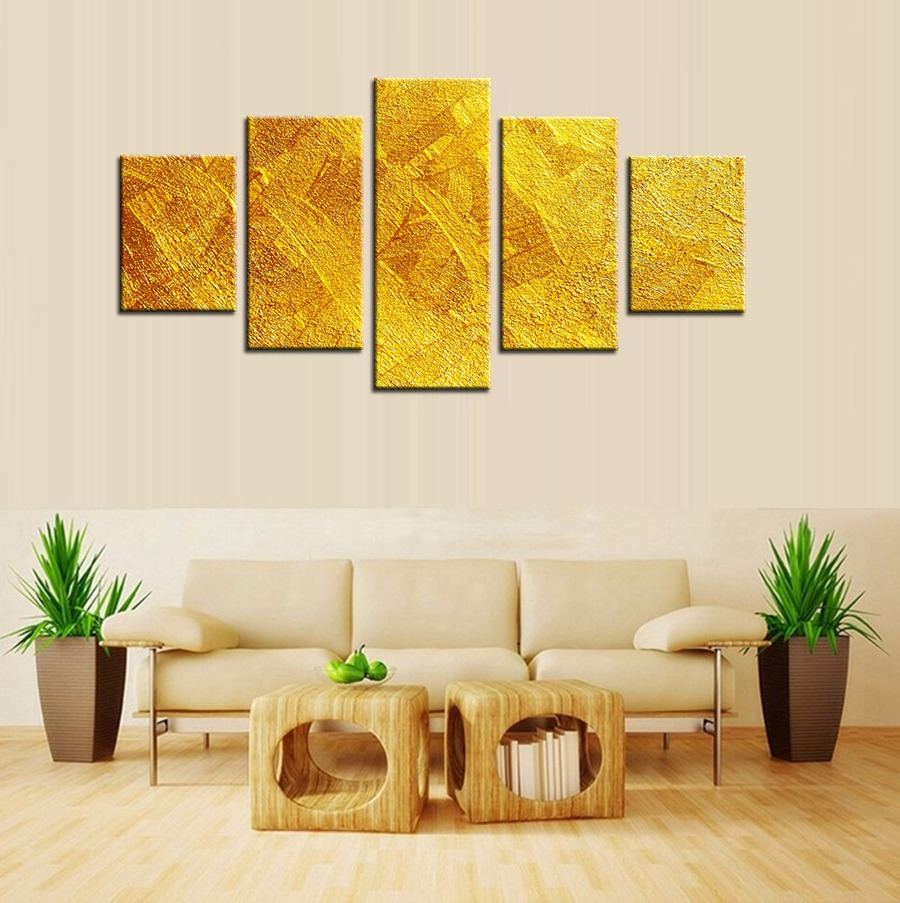 Top Sale Golden Artistic Abstract Oil Painting on Canvas for Home Decoration Art Wall Sticker Wholesale Custom Is Welcomed 5pcs