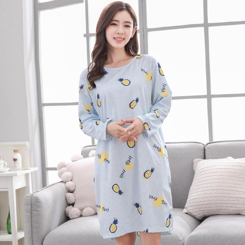 Yidanna 2019 long sleeved pyjamas   Nightgown   women   sleepshirts   nightwear milk silk girls sleepwear sleep clothing autumn nighties