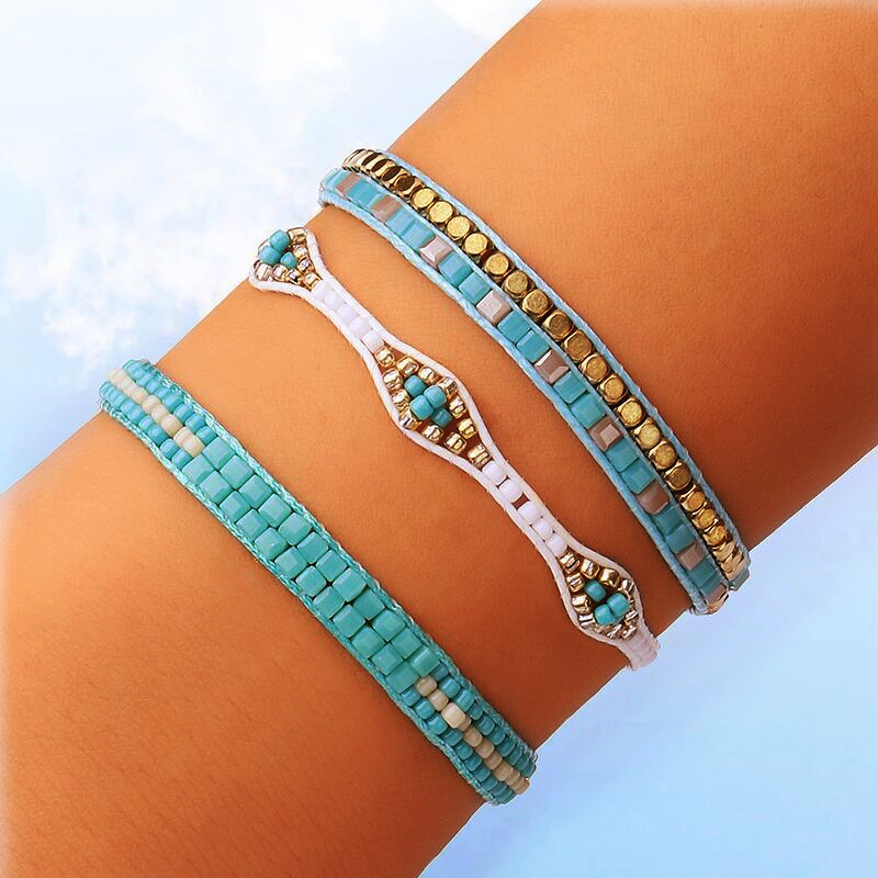 DIEZI Bohemia Ethnic Handmade Weave Cotton Rope Bracelets For Women Beads Strand Bracelet & Bangles Friendship Jewelry Gifts