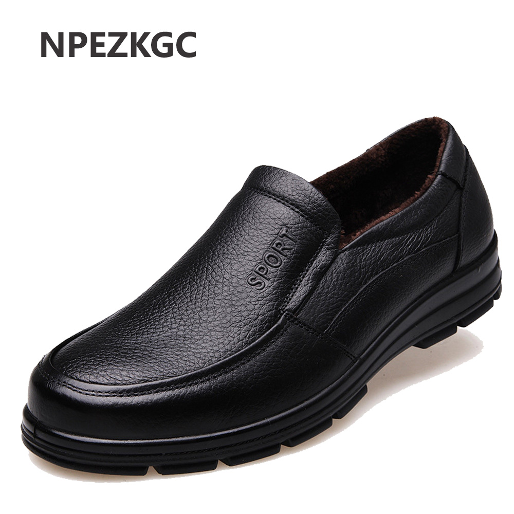 NPEZKGC 2018 New Cow Leather Casual Shoes Winter Men Loafers Slip On Fashion Driving Loafer Moccasins Plush Men Shoes camp bambino