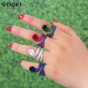 Image 2 - GODKI Luxury Engagement Wedding Snake Winding Wrap Ring for Women Bridal Cubic Zircon Dubai Accessories Finger Ring Jewelry 2019