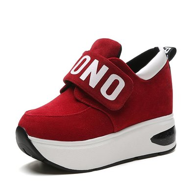 Casual Shoes Fashion Height Increasing Platform Wedges High Top Women's Shoes Trainers Student Canvas Single Shoes Walking Size fashion women elevator candy color breathable canvas high platform denim lace up casual shoes height increasing wedges shoes