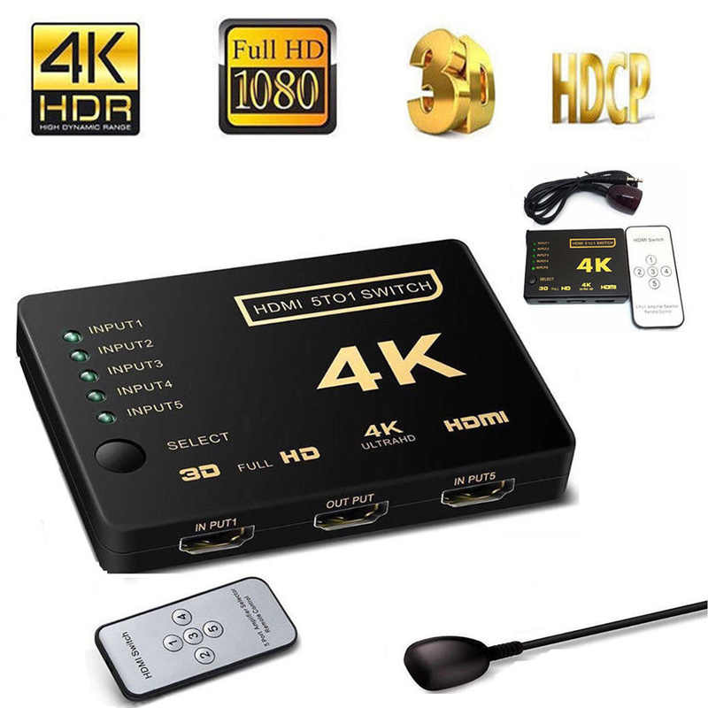 Interruptor HDMI 5 Puerto 4K * 2K Switcher divisor caja Ultra HD para DVD HDTV Xbox PS3 PS4 Cable Hdmi