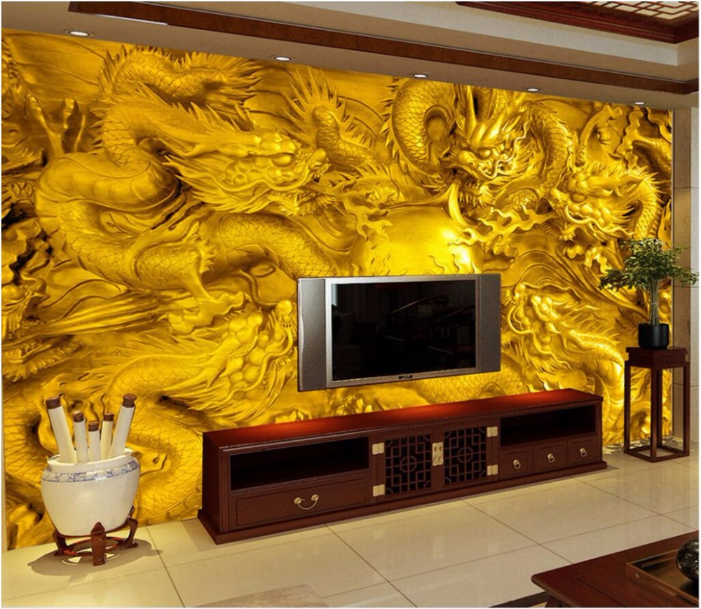 Custom mural 3d photo wallpaper Golden China dragon TV background wall painting 3d wall murals wallpaper for walls 3 d custom 3d photo wallpaper for walls 3 d wall murals wallpaper 3d european style white building palace living room tv wall paper
