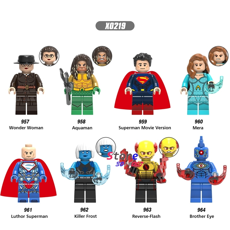 Single Aquaman Mera Wonder Woman Reverse Flash Luthor Superman Killer Frost Brother Eye Building Blocks Bricks Toys For Children