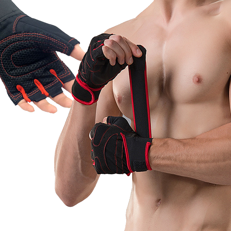 With Belt Body Building Fitness Gym Gloves Crossfit Weight Lifting Gloves For Men Musculation Women Anti-slip Barbell Dumbbell(China)