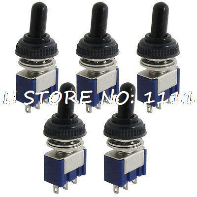 цена на 5 x AC 125V 6A On-off-on 3 Position SPDT 3 Pins Toggle Switch w Waterproof Cover