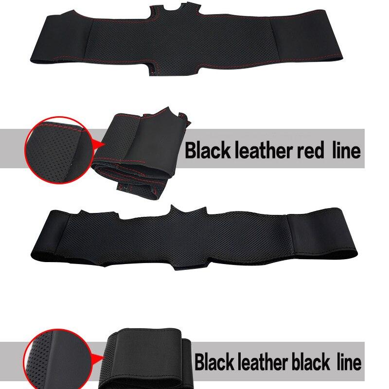 Siyah Deri El-Dikişli Araba Direksiyon Kapağı Hyundai Elantra 2011 - Araç Içi Aksesuarları - Fotoğraf 3