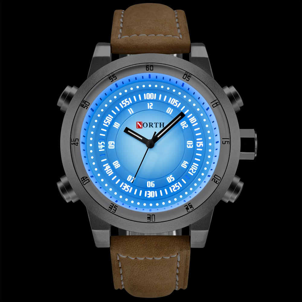 NORTH Creative Quartz Watch Men Brown Genuine Leather Big Dial Led Light watches Waterproof Fashion Casual Men's Wrist watch men цена и фото