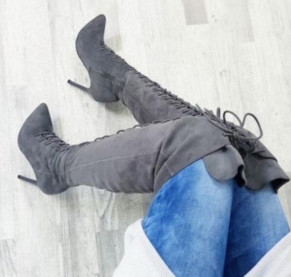 Drop Shipping Winter Fashion Woman Solid Burgundy Gray Black Khaki Pointed Toe Stiletto Heels Over The Knee Lace Up Thigh BootsDrop Shipping Winter Fashion Woman Solid Burgundy Gray Black Khaki Pointed Toe Stiletto Heels Over The Knee Lace Up Thigh Boots