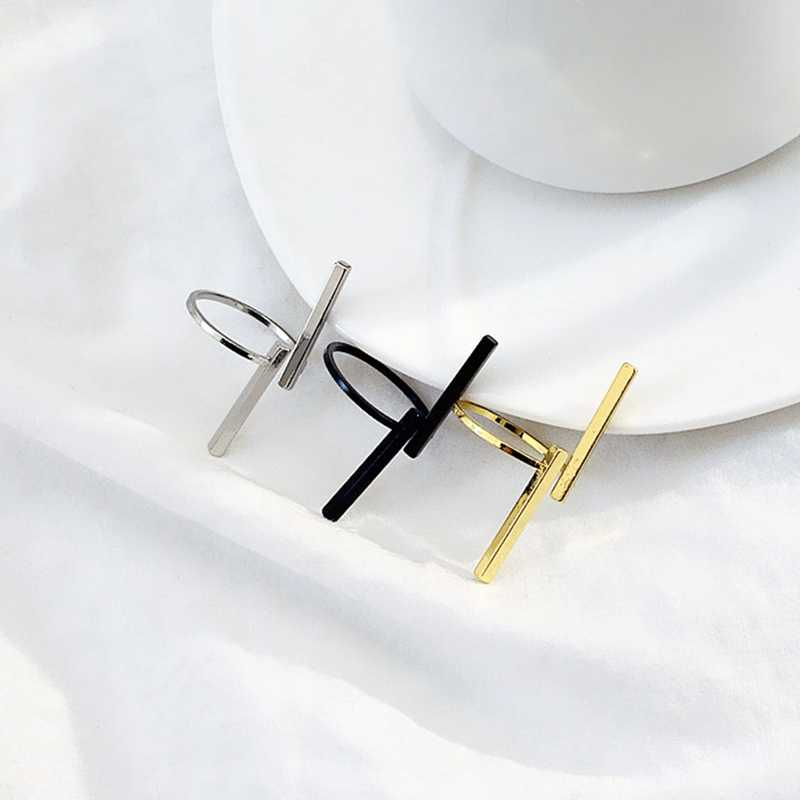 Hot Fashion Jewelry Adjust Size Creative Simple Open Double Word Geometric Ring For Women