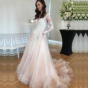 Image 1 - Long Sleeves Wedding Dress Vestido De Noiva Wedding Gowns 2020 Lace Appliques A Line Bridal Dresses with Pockets