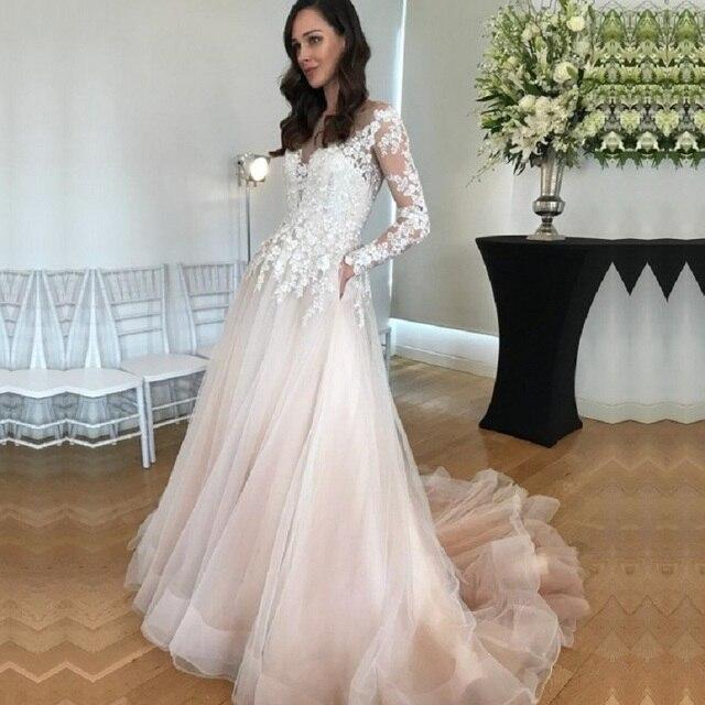 Long Sleeves Wedding Dress Vestido De Noiva Wedding Gowns 2020 Lace Appliques A Line Bridal Dresses with Pockets