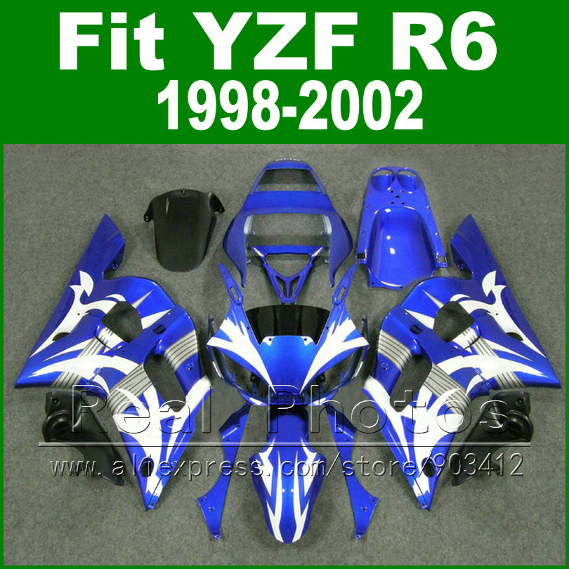 Free Custom Plastic parts for YAMAHA R6 fairing kits 1998 1999 2000 2001 2002 blue with white  YZF R6 fairings98 -02 bodywork