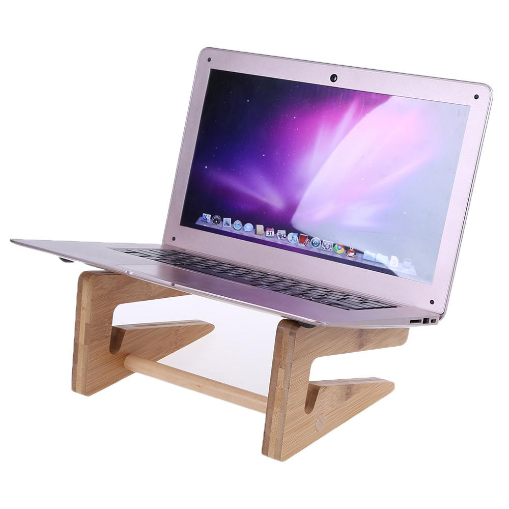 Laptop Holder Keyboard Detachable Desk Stand Wooden Mount Foldable Portable for Apple Macbook Tablet PC Notebook 15-17 image