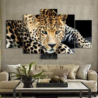 5 Pieces New Fashion Gold Leopard Canvas Painting Living Room Wall Art Pictures Home Decor Free