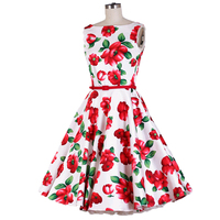 Audrey Hepburn Dresses Vestidos Elegant Summer Dress 2016 Vintage Retro Sleeveless O Neck Slim Swing Floral