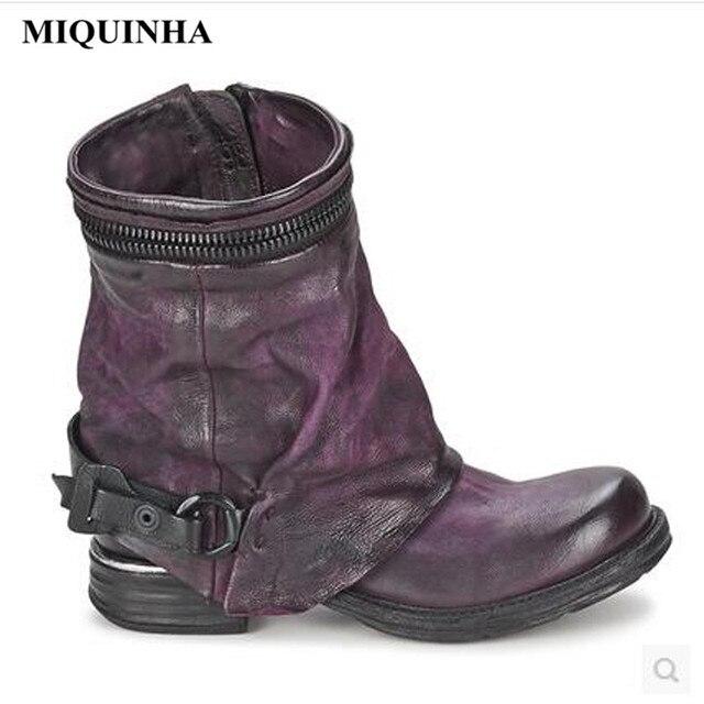26318d25dd725 US $238.0 |MIQUINHA British Martens Shoes Woman Flat Round Toe Women Winter  Boots Dark Purple Genuine Leather Old Belt Button Biker Boots-in Ankle ...