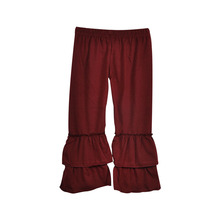 New 2017 Kids autumn winter Solid Wine Red Leggings Fashion Children Ruffle Pants Warm Girl Cheap Price Clothing P006