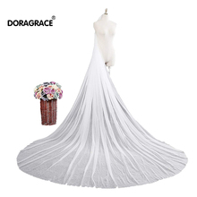 Doragrace Simple Elegant 1T 3M White Ivory Tulle Cathedral Length Wedding Bridal Veil with Comb