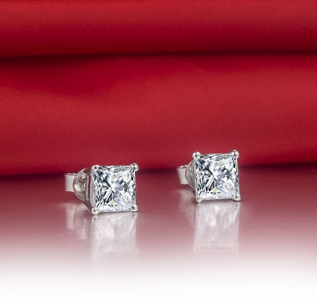 1CT Piece Princess Cut Earrings 925 Lovely Diamond Stud Earrings For Women Sterling Silver Jewelry 18K.jpg 640x640 - 1CT/Piece Princess Cut Earrings 925 Lovely Diamond Stud Earrings For Women Sterling Silver Jewelry 18K White Gold Cover