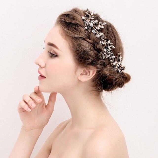 Dower Me Vintage Leaf Flower Hair Comb Bridal Vine Headband Pearls Wedding Jewelry Accessories Women