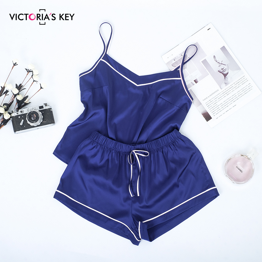 VICTORIA'S KEY Contrast Stripe Side Navy Cami Top Satin Shorts Suits Female Summer Home Clothes Women   Pajama     Set   Sexy Sleepwear