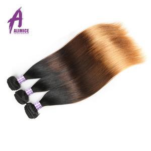 Image 3 - Alimice ハイライトヘア T1B/4/30 オンブルストレートヘアの束でペルー人毛閉鎖とバンドルを編む 3 トーン