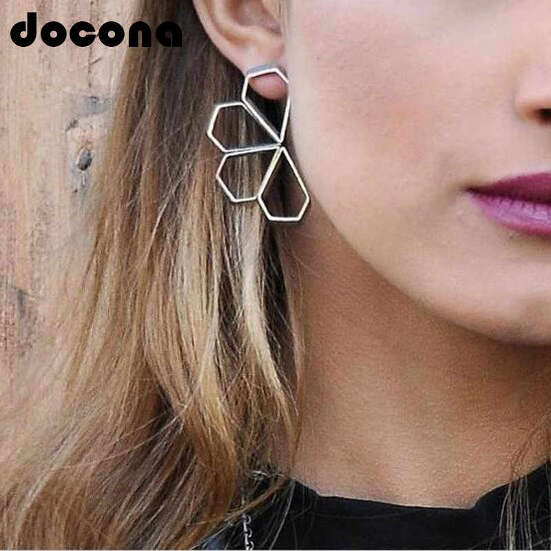docona Silver Color Hollow Flower Drop Dangle Earrings for Women Geometric Petal Charms Pendant Earring Oorbellen 6980
