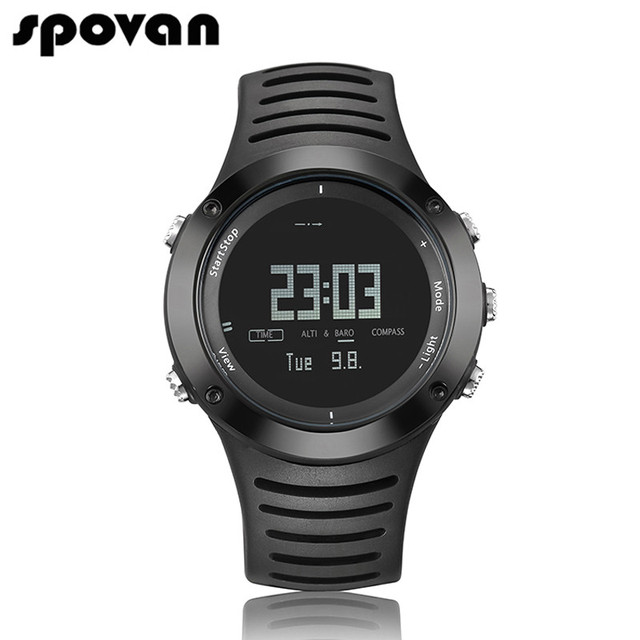 SPOVAN Men's Watch Sport Watches 100m Waterproof Outdoor Compass/Altimeter/LED Backlight SPV806