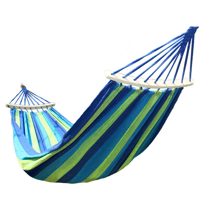 1-2 Person Outdoor Portable Hammock Home Garden Travel Sports Camping Canvas Stripe Hang Swing Single Bed Hammock outdoor sleeping parachute hammock garden sports home travel camping swing nylon hang bed double person hammocks hot sale