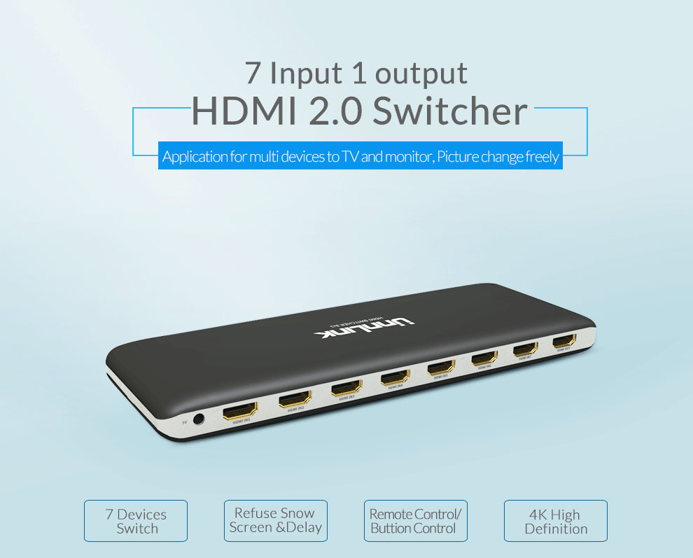 Unnlink Hdmi Switch 7x1 Hdmi 2 0 Uhd4k 60hz Hdcp 2 2 Hdr 7 In 1 Out With Ir Remote For Smart Tv Mi Box3 Ps4 Projector Hdmi Cables Aliexpress