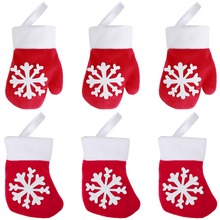 Hemoton 12PCS Christmas Glove Sock Party Decorations Snowflake Tableware Cutlery Candy Pouch Bag Hanging Accessories