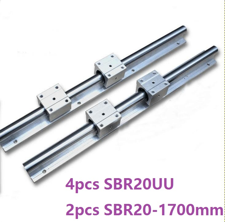 2pcs SBR20 20mm -L 1700mm support guide linear rail + 4pcs SBR20UU linear blocks CNC parts linear guide
