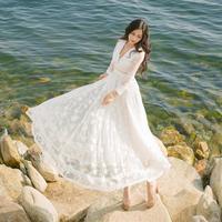 Women Lace Patchwork Long Maxi Dress Vestidos Fashion Robe Slim V neck Irregular Hollow Out Lace Dress Beach Party White Dresses