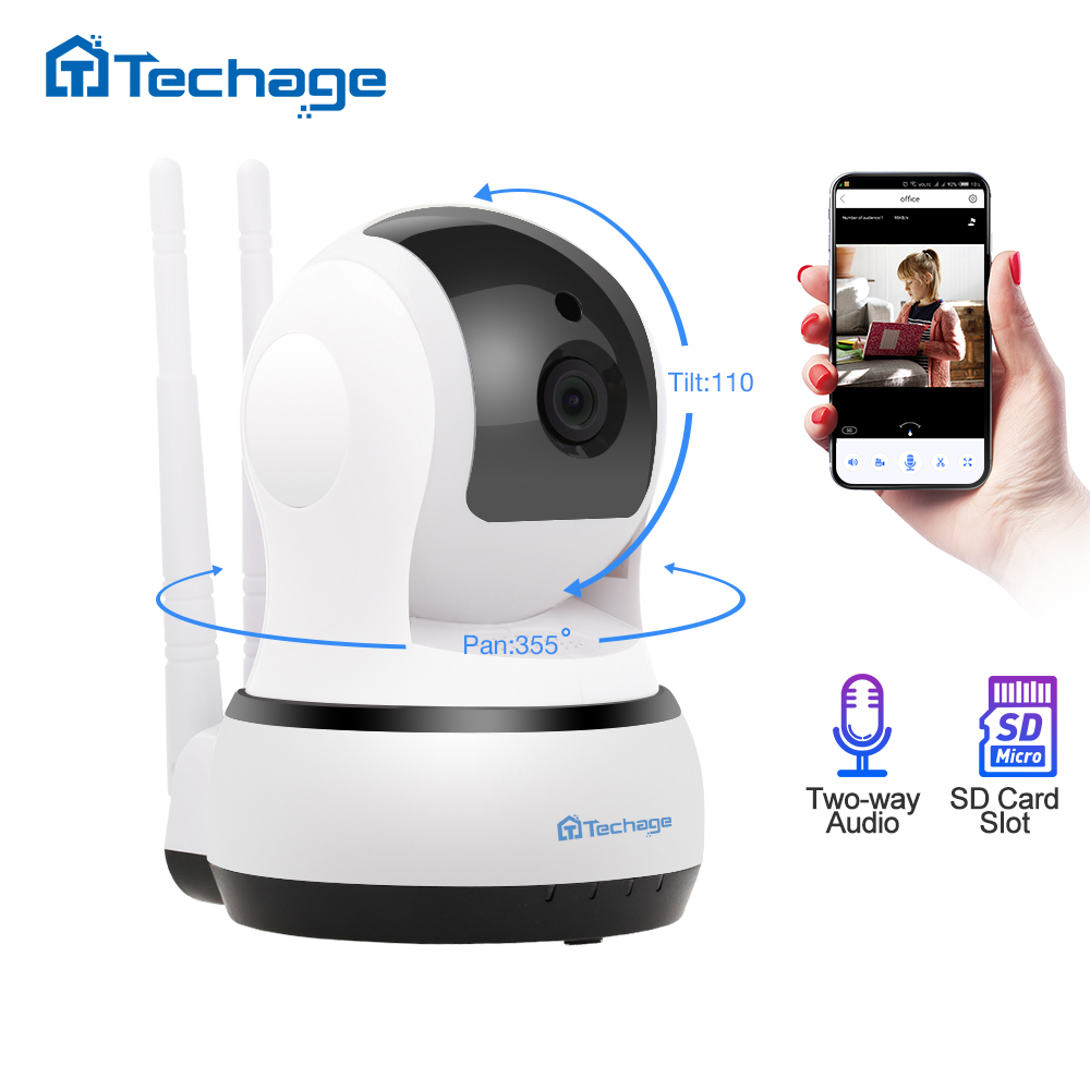 Techage 1080P 2MP Wireless IP Camera Two-Way Audio CCTV Security Wifi Camera Baby Monitor Indoor Video Surveillance Dome Camera