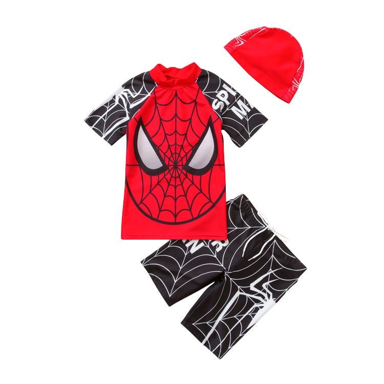New Marvel Spiderman Swimwear Children Boy Swimsuit 3 Piece Bathing Suits Swimming Suit Cartoon Kids Beach Surfing Swim Wear
