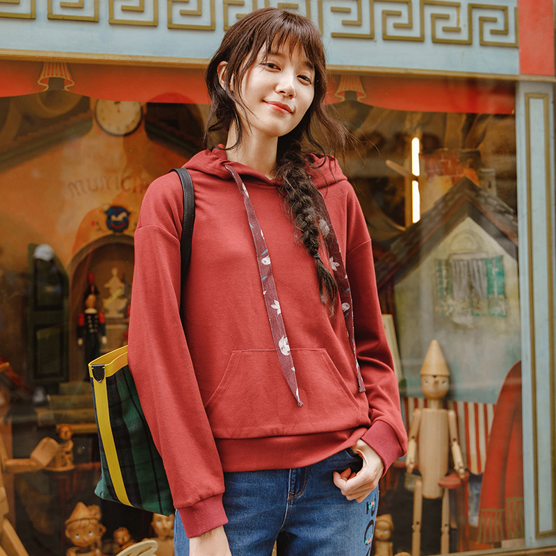 INMAN Autumn Drawstring Hoodies Loose Style Causal Sport Style Women Long Sleeve Sweatshirt