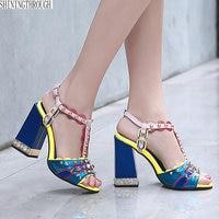 2018 New Elegant rivet women sandals high heels sandals open toe summer shoes woman purple blue ladies shoes large size 43